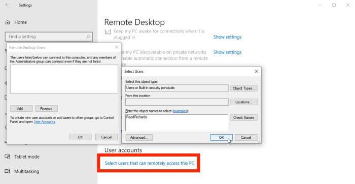 اجازه دسترسی به کاربران در ریموت دسکتاپ